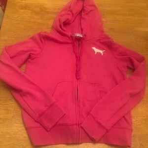 Pink zip up hoodie jacket very good cond Sz Med